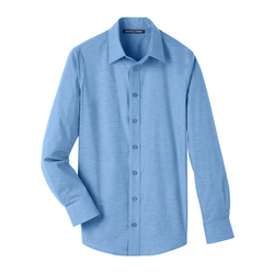 Men's Crown Collection™ Stretch Pinpoint Chambray Shirt