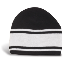 Fine Knit Beanie with 3 Contrasting Stripes