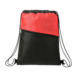 Cross Weave Zippered Drawstring Bag